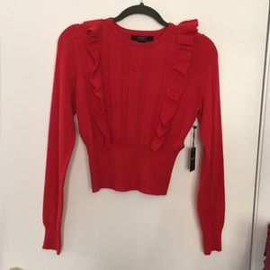 Forever 21 Ruffled Cropped Sweater Top